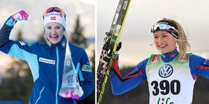 Ingvild Flugstad Östberg vill se Frida Karlsson som motståndare i världscupen. Foto: Terje Pedersen/TT och Ulf Palm/TT