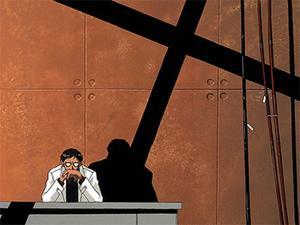 General Gendo Ikari för befälet i kampen mot apostlarna. De kristna  symbolerna genomsyrar