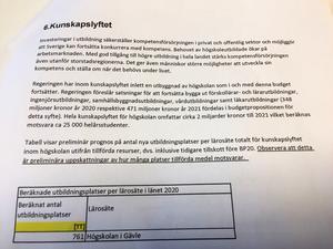 Fakta om satsningen på nya utbildningsplatser till Högskolan i Gävle.