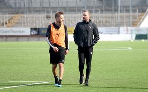 Johan Mårtensson och Axel Kjäll efter ett träningspass förra veckan.