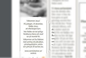 Här är annonsen i Västerås Tidning den 23 december. Bild: Skärmdump från E-tidning