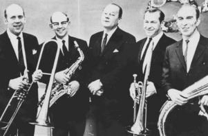Några av musikanter vid 100-årsjubileet 1969: från vänster Rune Jansson, Gotthard Lämborg, Nils Lang, Lars Jansson och Bertil (eller ev. Folke) Jardemyr.