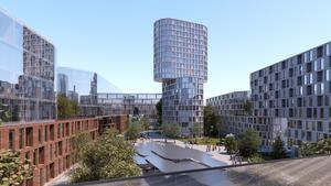 Vid nuvarande Sigurdområdet kommer det att se ut så här, enligt förslaget till detaljplan.                                                      Bild: BIG (Bjarke Ingels Group)
