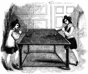 Illustration av biljardspel av okänd konstnär från 1710.