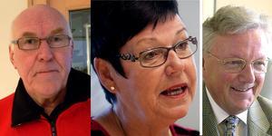 Christer Nilsson, Kerstin Kristiansson Karlstedt och P–O Näsström. Tre verkliga S-veteraner i Kramfors som nu engagerar sig i den nya s-föreningen.  Arkivfoto