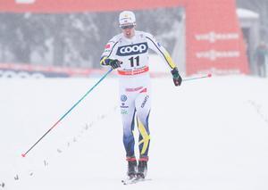 Calle Halfvarsson i prologen, som olyckligt föll och åkte ur i kvartsfinalen. Bild: Terje Pedersen / NTB scanpix / TT