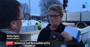 Barbro Egner bor granne med E4 i Vattrång och hon är orolig för att fler olyckor ska inträffa där hon bor.