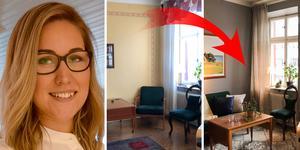Emelie Eriksson jobbar med att stajla bostäder före försäljningen.
