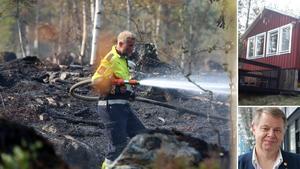 Räddningstjänsten bekämpar skogsbrand i Härjedalen (stora bilden) där västeråsaren Leif Olsson har sin sommarstuga (små bilder, privat foto).