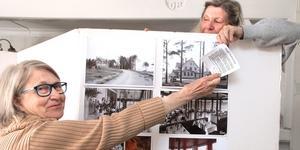 Siw Wahlberg och Karin Hernudd-Öhman är två av personerna bakom Sotholms härads hembygdsförenings sommarutställning om kiosker och andra näringsställen på mormors tid. På bilden fixar de med den skärm som handlar om den klassiska Strand restaurang.