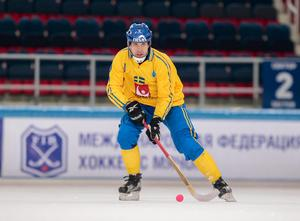 Per Hellmyrs i VM-premiären mot Finland. Bild: Rikard Bäckman / Bandypuls.se / TT
