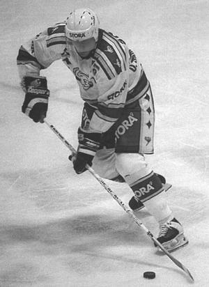 Ulf Samuelsson i Leksandströjan under sin korta comeback i mitten på 90-talet. Foto: Veronica Rigtorp-DD