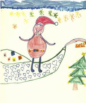 Tilde Sundelin, 7 år, från Bjästa har ritat den här söta tomten som med sin stora släde är på väg runt till alla barnen med deras julklappar.