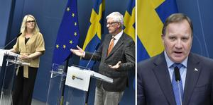 Lena Hallengren, Johan Carlson och statsministern Stefan Löfven.