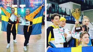 En femteplats i EM i Hiphop Duo Adults blev det för Elin Wagner och Alicia Carlsson från Malins dansstudio (vänster).  Wilma Lindström Åslund tävlade med gruppen