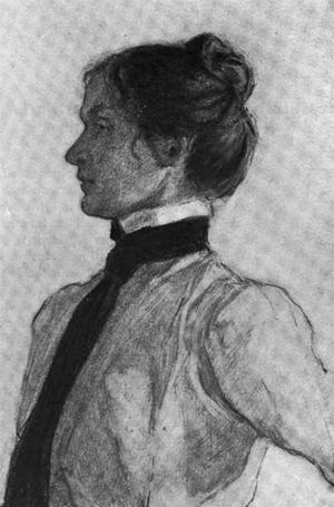 Elisabeth Foote har porträtterat sin mor Mary Hallock Foote i en blyertsskiss kring 1900.
