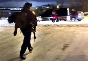 Poliser i centrala Sundsvall.