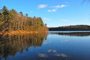 Skogssjön Walden utanför Concord i Massachusetts. I de svenska översättningarna av Thoreaus