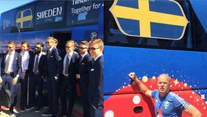 Till vänster: Spelarna vid bussen. Till höger: Allgulander vid bussen.