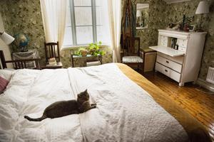Sovrummet har fått ny tapet och har delvis inretts med möbler som följde med huset.