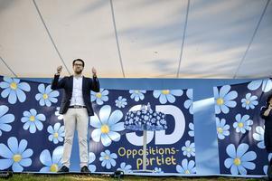 Sverigedemokraternas partiledare Jimmie Åkesson håller tal i Almedalen.