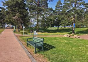 Vägen ner mot Långbryggan och parken till höger. Enligt planförslaget ska den inte kunna användas som campingyta - ens under de intensiva dygn då CCW och marknaderna pågår.