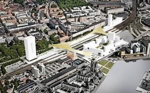 Stationsförslag som befäster barriären?                         Illustration: Bjarke Ingels Group