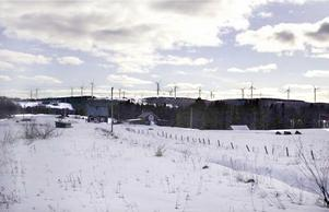 Fotomontage som visar hur Bodhögarna och Ögonfägnadens vindparker kan komma att påverka landskapet sett från Sörviken. Fotomontage: Sweco