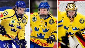 Emilia Ramboldt, Pernilla Winberg och Sara Grahn vill att spelare på landslagsuppdrag ska kompenseras ekonomiskt av ishockeyförbundet. Bilder: Bildbyrån.