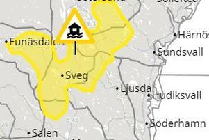 Området som omfattas av varningen. Skärmdump från SMHI.
