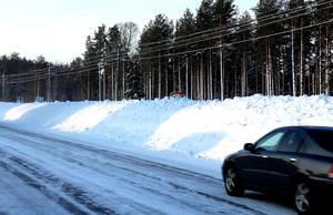 Gamla E4  vid Forsmon i Timrå onsdag 7 februari, den dolda skylten visar 70 km/h.