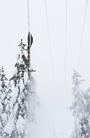 En hängande sågklinga som manövreras från en helikopter gör att man kan röja i otillgängliga områden. Foto: Vattenfall