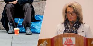 Pia Johansson (SD) gör ett försök att skaka liv i debatten om tiggeriförbud i Smedjebacken.