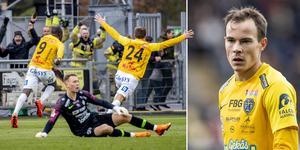 Falkenbergs Nsima Peter och Anton Wede jublar efter 1-0-målet mot AFC Eskilstuna i sista omgången. Foto: Adam Ihse / TT kod 9200 samt Avdo Bilkanovic / BILDBYRÅN / Cop115. Bilden är ett montage.