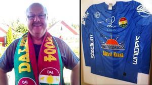 Matchtröjan från 2016 tillhör nu Leif Mikkelsen, här iklädd Dalkurdhalsduk.