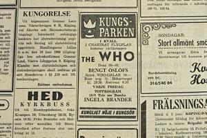 Annonsen i Bärgslagsbladet 3 juni 1966. Tio kronor kostade det att se The Who, och det ordnades bussar från Köping. För den som vill se bandet på Wembley i London i sommar kostar biljetterna mellan 900 och 2 500 kronor.