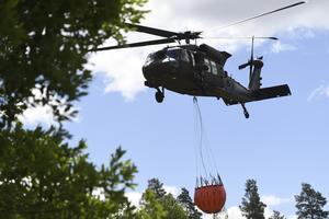 Helikoptrar över Rörbo gård i somras.Foto: Henrik Montgomery /TT