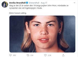 Annika Strandhälls tweet om John Hron på 25-årsdagen efter hans död.
