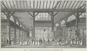 Galeries de bois at au Palais-Royal i Paris är ett av de första moderna köpcentren i Europa invigdes 1825. Litografi av Theodor Josef Hubert Hoffbauer från 1882.