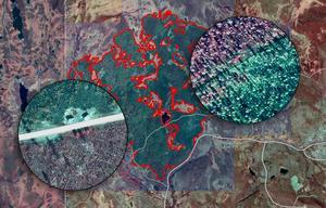 Fotmontage (foto: Lantmäteriet). BILDEXTRA: Infraröd teknik visar omfattningen av Trängsletbranden –