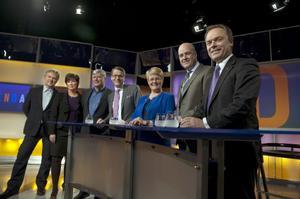 Vi närmar oss valet med stormsteg. Här ses de sju nuvarande riksdagspartiernas ledare i SVT:s partiledardebatt.