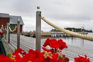 Ställplatserna ligger alldeles intill hamnen och sjöbodarna.