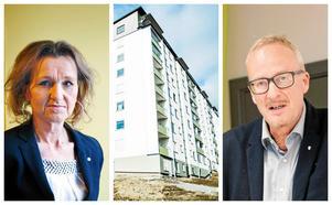 Boel Godner (S) och Staffan Norberg (V) har olika syn på vad som borde hända efter Telge bostäders renovering i Fornhöjden som skenade med 242 miljoner kronor.