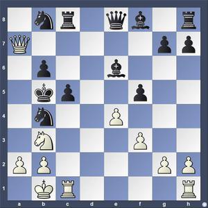 Lösning: 1.Sd4+ cxd4 2.a4.