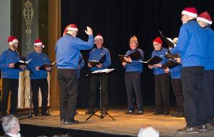 Siljansnäs manskör framträdde i tomteluvor och sjöng julsånger. Foto: Bengt Borkeby.