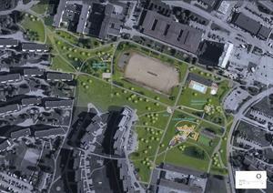 Skissen av Nacksta park visar bland annat lekpark, utegym, och boulebana. Bild: Alena Repko/Sundsvalls kommun
