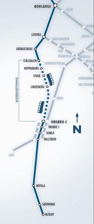Den prickade sträckan ersätts med buss den 8-11 juli. Grafik: Tåg i Bergslagen.