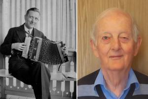 Helge Stråby, till vänster, var Arne Stråbys, till höger, pappa. Nu skriver Arne en biografi över sin fader. Foto: privat.