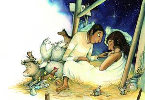 Josef, Maria och lilla nyfödda Jesus i stallet. Illustration av Marcus-Gunnar Petterssons i  nya