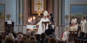 Ignatius Youssef III Younan höll en högmässa i S:t Jacob-katedralen på söndagen.